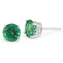 1.00 CT 5mm 14K WHITE GOLD GREEN EMERALD ROUND SHAPE STUD EARRINGS PUSH ... - $42.10