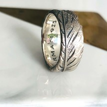 David Yurman Men's Silver Southwest Feather Band Ring Size 9 Authentic - $166.25