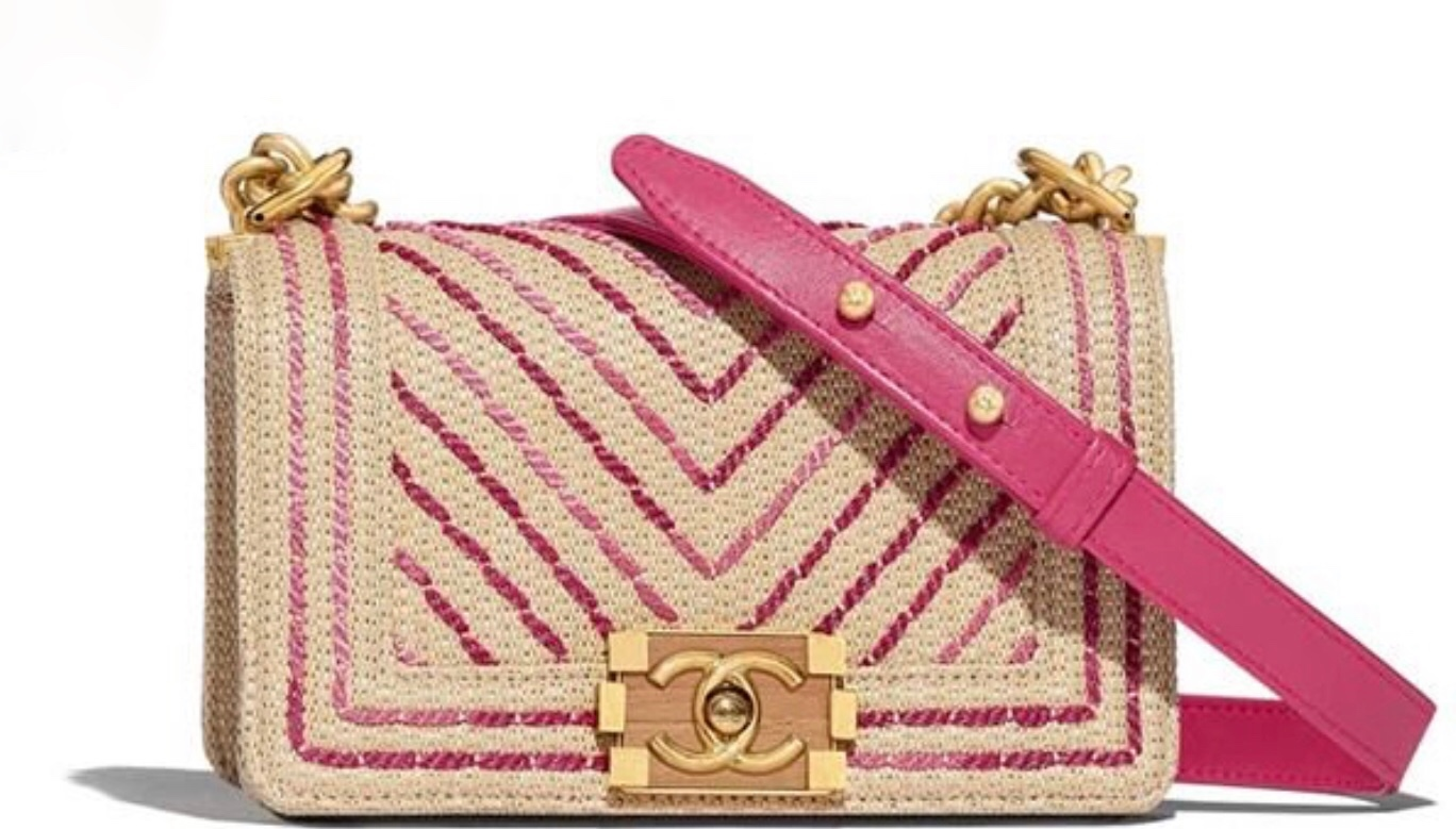 06d8ca7abaff BNIB AUTHENTIC CHANEL 2019 LIMITED EDITION GOLD PINK CHEVRON MEDIUM BOY BAG  -  4