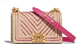 BNIB AUTHENTIC CHANEL 2019 LIMITED EDITION GOLD PINK CHEVRON MEDIUM BOY ... - $4,899.99