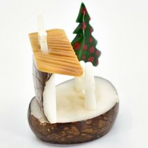 Hand Carved Tagua Nut Carving Nativity Scene Figurine w Manger & Christmas Tree image 4