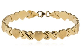 18kt Gold Plated 925 Sterling Silver Hugs and Kisses XOXO Bracelet - $113.69