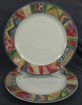Sakura Malaga Dinner Plates Lot of 2 Sue Zipkin Stoneware Geometric - $39.95
