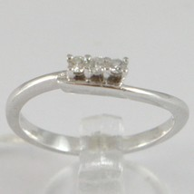 White Gold Ring 750 18k, Trilogy, 3 Diamonds Carat Total 0.08, with Wave image 1
