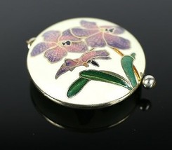 Vintage Asian Floral Gold Cream Tone Enamel Necklace Pendant Costume Jew... - $13.26