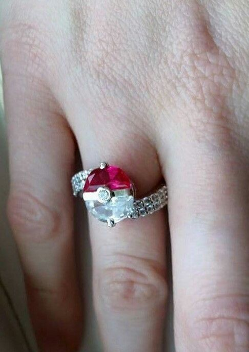 2.40Ct Pink & White 925 Sterling Silver Pokemon Pokeball Promise Engagement Ring