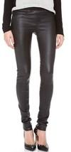 Helmut Lang Stretch Plonge LEATHER Leggings Pants Jeans Black sz 0 insea... - $399.99