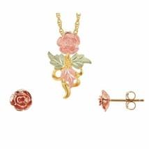 Black Hills Gold Beautiful Roses Earrings & Pendant Set - $179.19