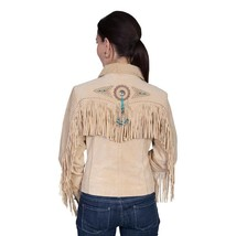QASTAN Women's New Beige Fringes / Conchos Suede Cow Leather Jacket WWJ14D image 2