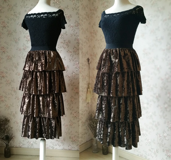 Vintage Velvet Tiered Long Party Skirt Ball Skirt Elastic Waist One Size