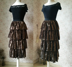 Vintage Velvet Tiered Long Party Skirt Ball Skirt Elastic Waist One Size image 4