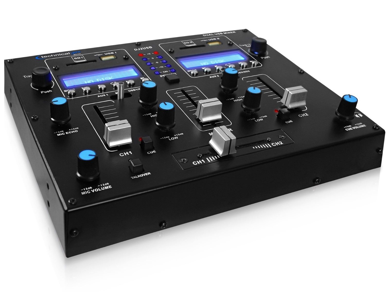 Technical Pro DJ2USBT Table Top USB Mixer / Pre Amp Bluetooth AC/DC