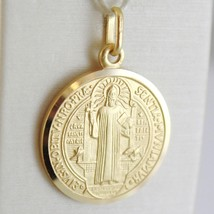 SOLID 18K YELLOW GOLD ST SAINT BENEDICT PROTECTION MEDAL CROSS, MADE IN ... - $128.00+