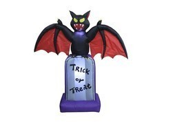 5 Foot Halloween Inflatable Black Bat on Tombstone Outdoor Party Yard De... - $65.00