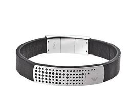 Emporio Armani EGS2004 Perforated S/Steel Logo Plaque Black Leather Bracelet - $149.75