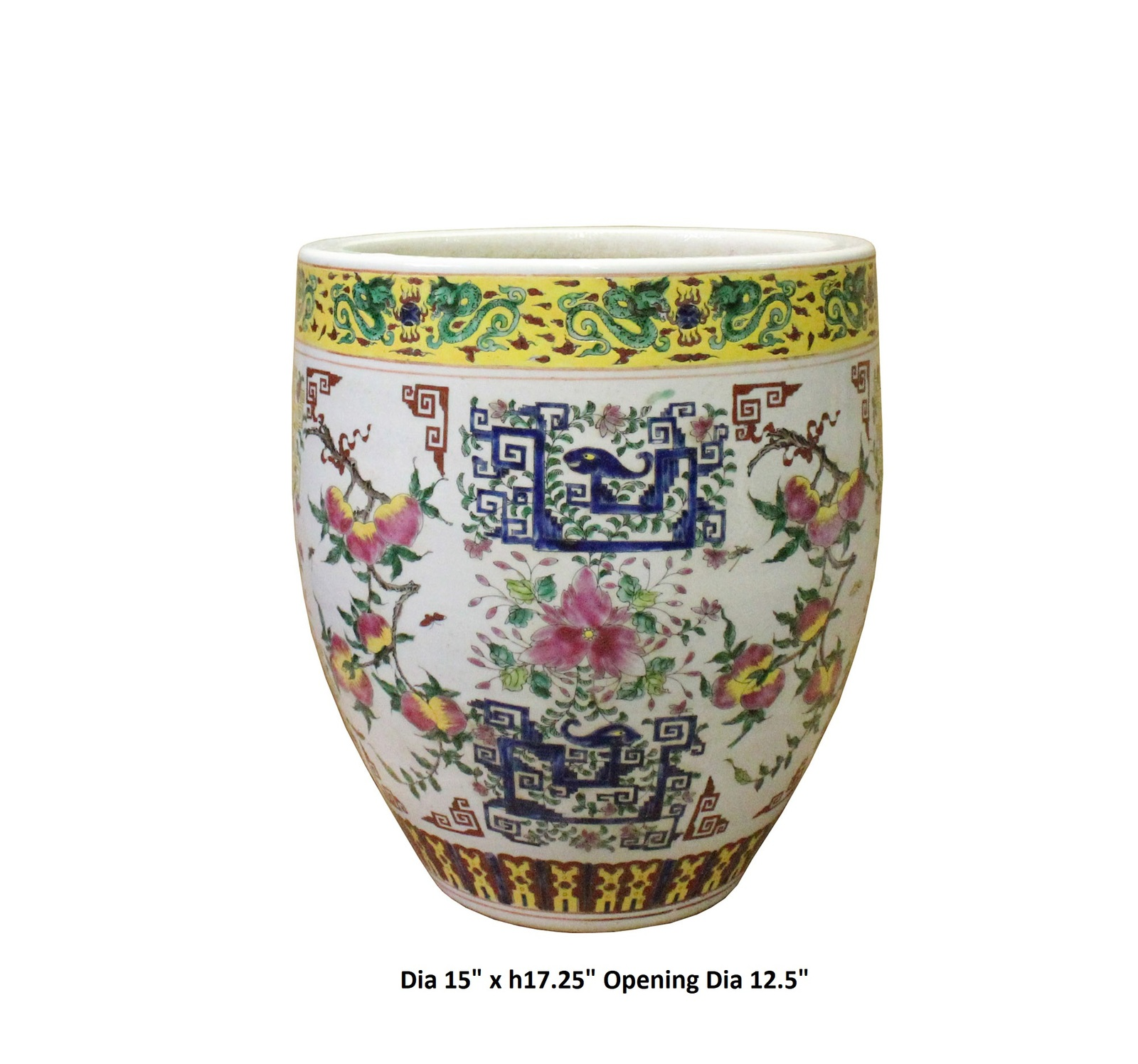 Chinese Off White Porcelain Color Flower Graphic Pot Planter cs3803