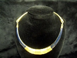 Vintage 80'S Gay Boyer Navy Blue Enamel Goldtone Choker ~ Minty ! - $43.56