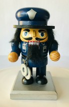 "Police Nutcracker Wood Policeman with Handcuffs Short 6"" Blue Uniform - $19.34"