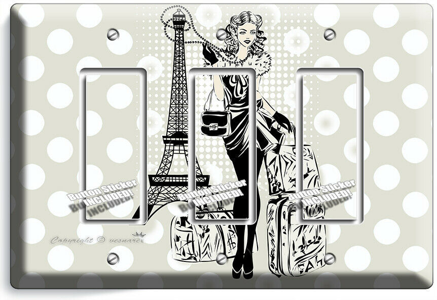 PARIS SHOPPING TRAVEL GIRL 3 GFCI LIGHT SWITCH WALL PLATE BED ROOM ROOM HD DECOR