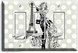 PARIS SHOPPING TRAVEL GIRL 3 GFCI LIGHT SWITCH WALL PLATE BED ROOM ROOM ... - $17.99