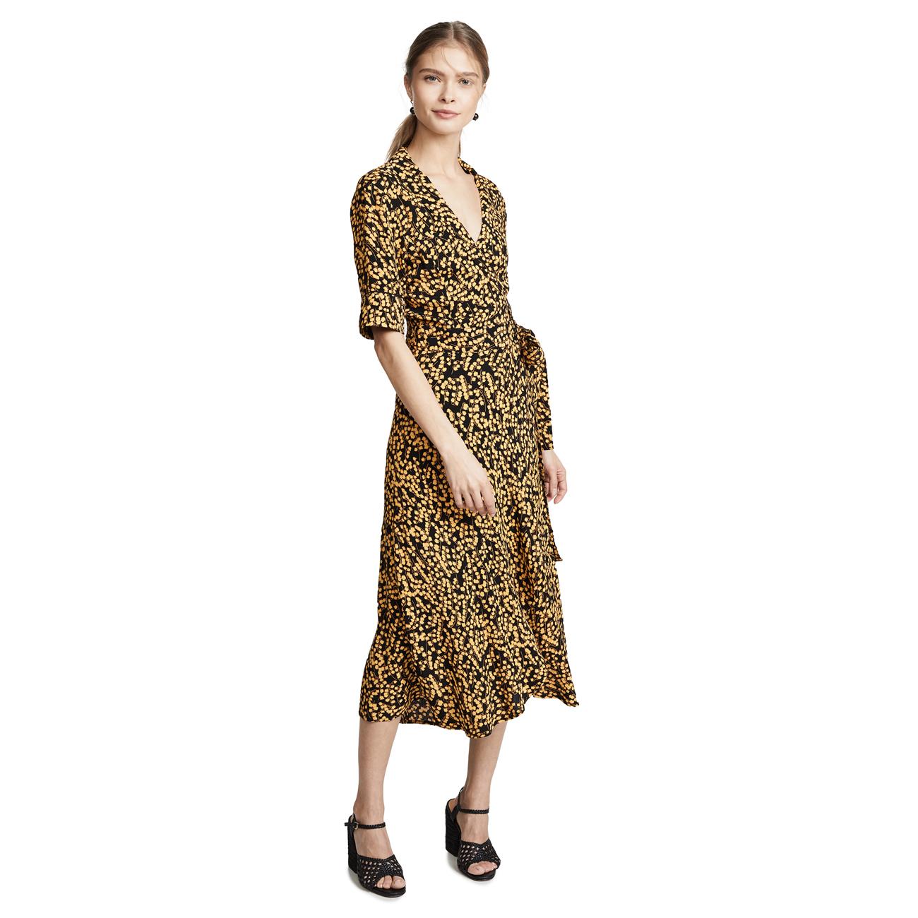 Ganni floral print crepe wrap dress 1