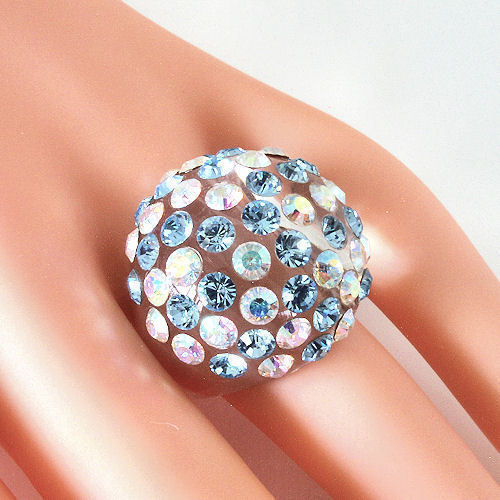 Clear Acrylic Domed Ring Numerous Blue & Rainbow Swarovski Elements Crystal Dome image 6