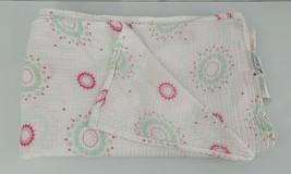 Aden By + Anais Baby Girl Cotton Muslin Wrap Blanket White Pink Aqua Dot... - $34.64