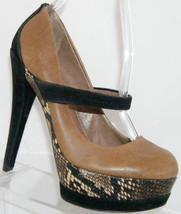 Jessica Simpson 'Cheetah' brown leather mary jane snake platform heels 5.5B - $28.66