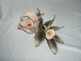 Vintage Capodimonte Exotic White Orchid Ceramic Figurine Italy  NICE - $65.00