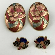 Vintage Enamel Floral Earrings Lot Flower Asian Style Cloisonne Look Pie... - $15.80