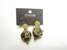 Chicos Drop Earrings Faux Stone Floral Gold Tone New  - $12.83