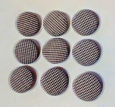Vintage Fabric Covered Buttons Lot of 9 Black White Dotted Coat Buttons ... - $8.82