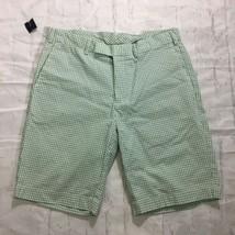 POLO Ralph Lauren Flat Front Seersucker Shorts Green White Check Size 33 - $27.69