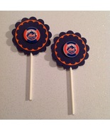 Mlb New York Mets Cupcake Toppers Birthday Party Decoration Handmade New - $12.00