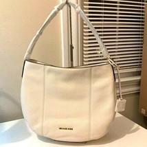 NWB Michael Kors Brooke Large Hobo Shoulder Bag Ivory Cream Leather Dust... - $134.99
