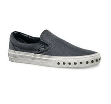 Vans Classic Slip On (Overwashed) Blue Graphite Gray Womens Studded Shoes - $37.95