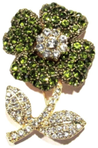 Flower Pin Brooch Olive Green Clear Crystal Goldtone Metal Spring Summer... - $24.99
