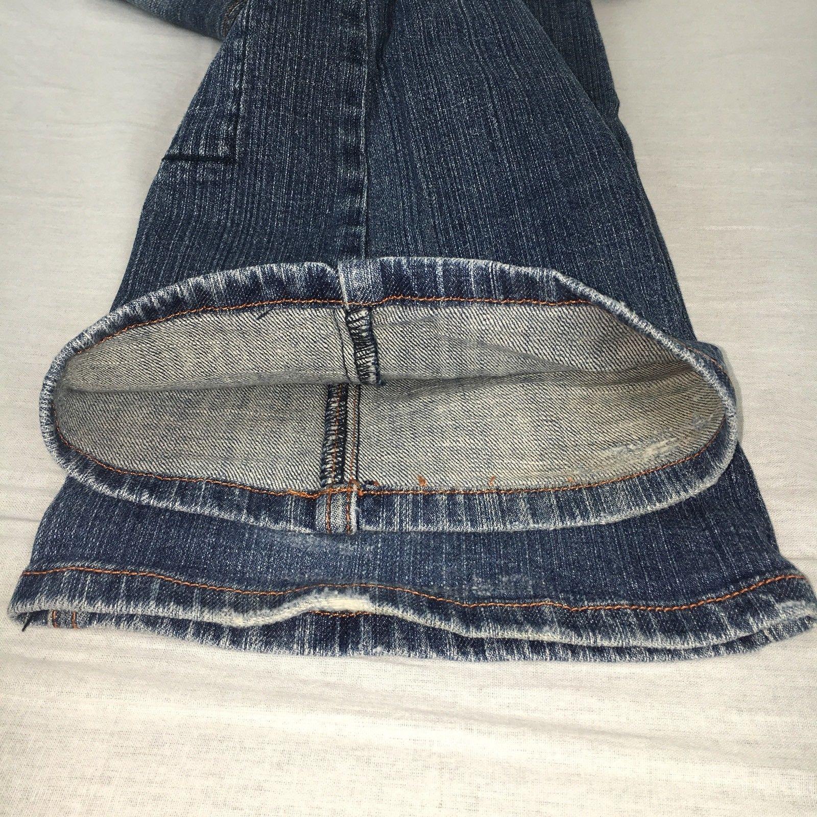 Zana Di Womens Jeans Flare Medium Wash Distressed Fleur De Lis Stretch Size 7