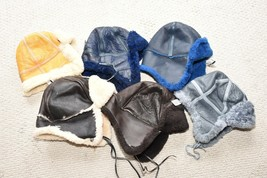 CHEAP ADULT SHEEPSKIN BOMBER HAT GENUINE LEATHER COZY WARM FACTORY SECON... - $29.50