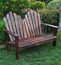 Cedar Adirondack Love Seat Shine Company Westport Patio Deck Bench Burnt... - $289.00