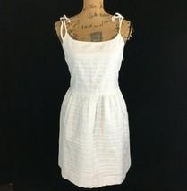 New Gap Dress 6 M White Pocket Sundress Pleat Full Skirt Lined Bow Tie Strap NWT - $29.95