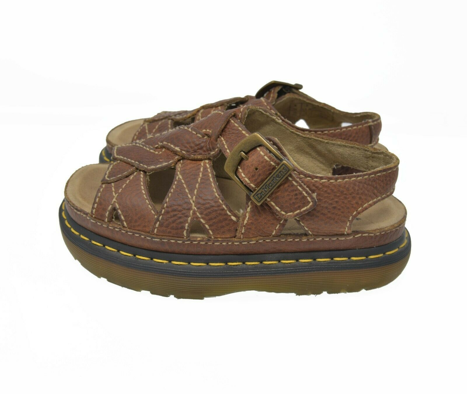Doc Dr. Martens Women's Sz 7 EU 38 Brown Pebbled Leather Buckle Sandals AW004