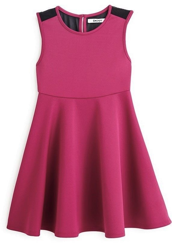 Primary image for DKNY Girls' Neoprene Sleeveless Skater Dress, Purple Potn, Size 2T, MSRP $49