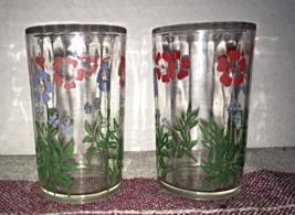 Vintage SWANKY SWIG Juice Glasses Hand Painted FLORAL DESIGN Retro Kitsch - $8.50