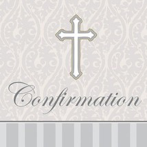 16-Count Confirmation Beverage Napkins, Silver Devotion Cross - £3.89 GBP