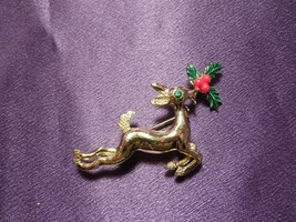 Vintage Gerry's Leaping Doe Deer w/ Enamel Holly & Green Rhinestone Pin ... - $24.75