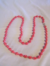 """Red Sarah Coventry Beaded Necklace approx 37.5"""" long clip - clasp - $3.38"""