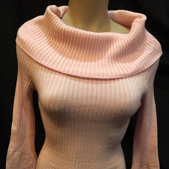Arden B Pink Turtleneck ribbed long sleeve cowl neck sweater XS