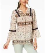 Style & Co Women's Printed Ladder-Trim Peasant Top, Size X-Large  - $10.64