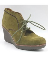 Naturalizer Women Wedge Heel Ankle Booties Kaitlyn US 8M Olive Nova Suede - $19.94